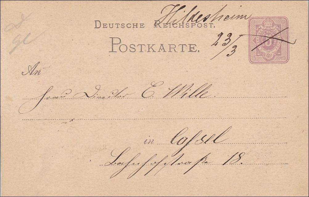 Brief von Hildesheim - handschriftlich - nach Kassel 1876