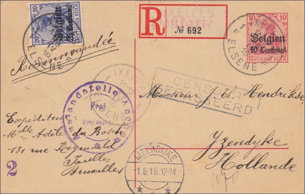 Brief Nach Belgien Frankieren : Belgien ganzsache von brüssel nach holland als