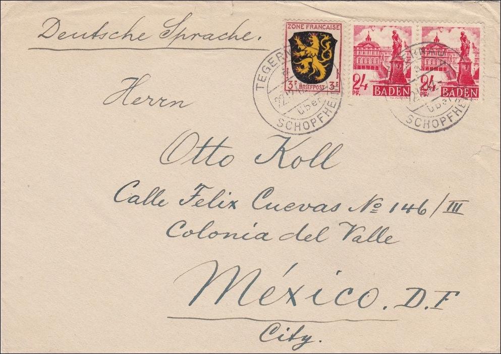 Brief Nach Mexiko Senden : Französische zone brief aus tegernau schopfheim nach