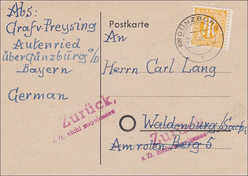 bizone postkarte von g nzburg autenried nach waldenburg sachsen zur ck 1946 philarena. Black Bedroom Furniture Sets. Home Design Ideas