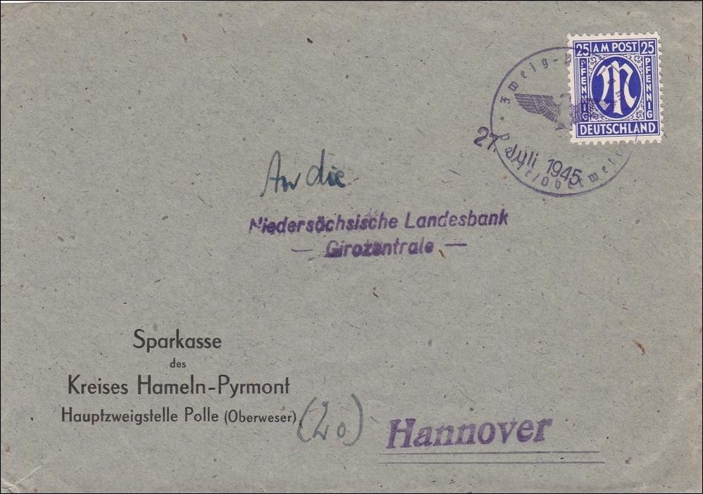bizone brief von hameln pyrmont nach hannover 1945 iii reich stempel aptiert philarena. Black Bedroom Furniture Sets. Home Design Ideas