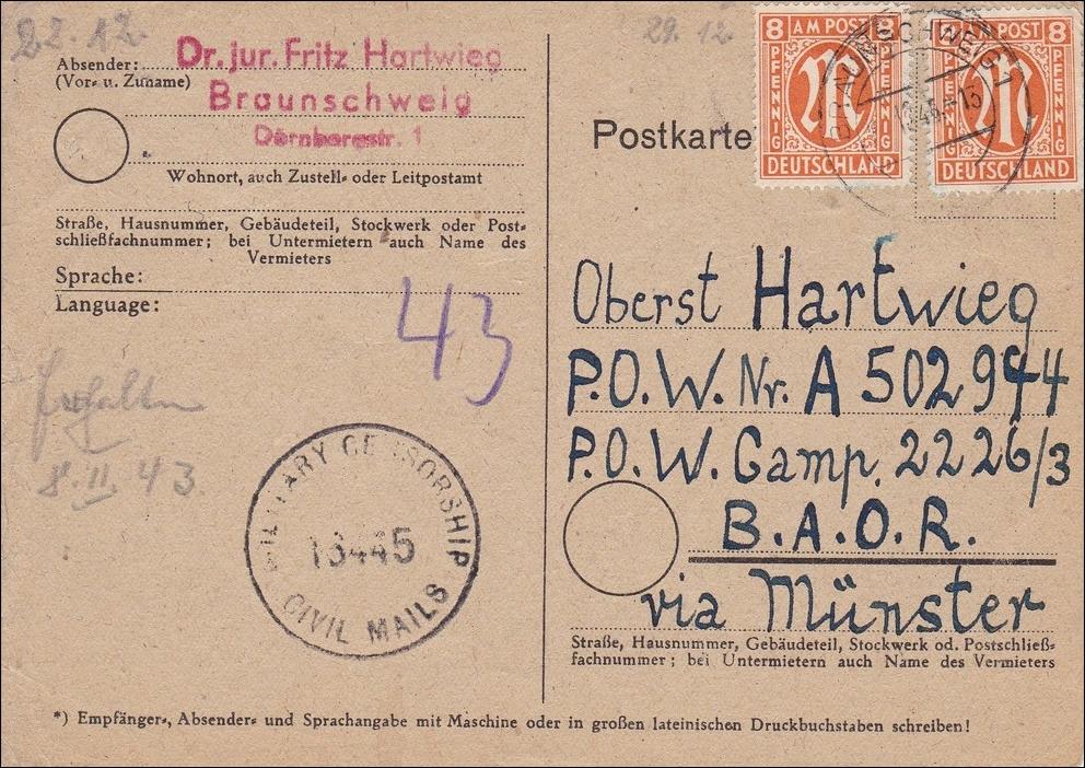 bizone postkarte aus braunschweig nach m nster milit r zensur 1946 philarena. Black Bedroom Furniture Sets. Home Design Ideas