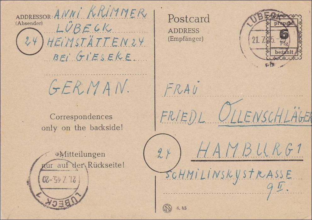 bizone ganzsache p792 iii von l beck nach hamburg 1945 philarena. Black Bedroom Furniture Sets. Home Design Ideas