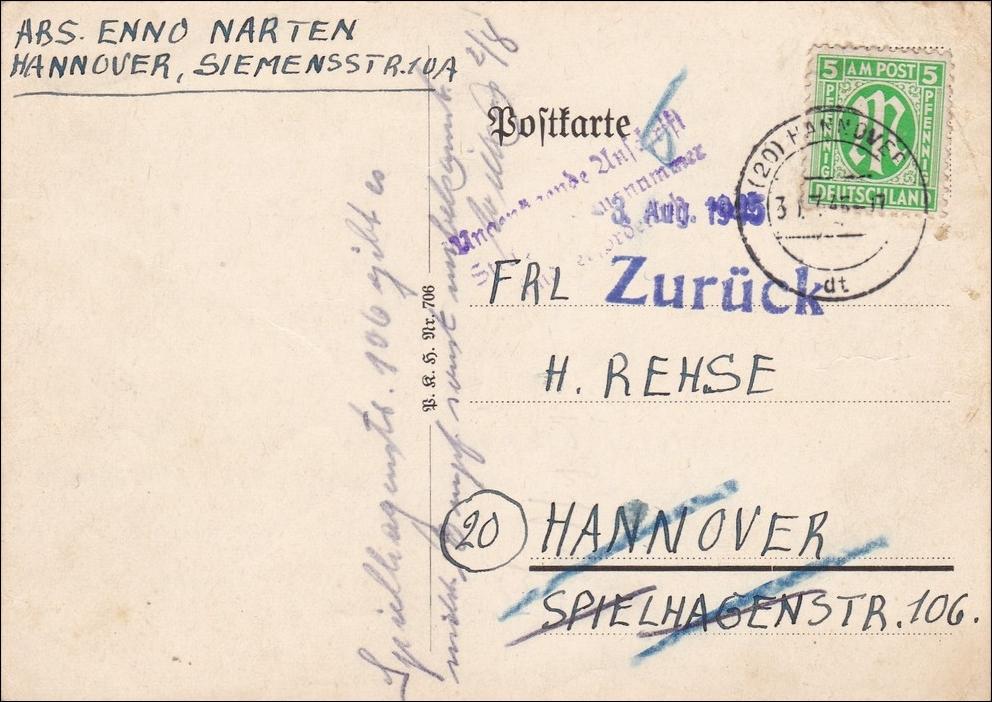 bizone postkarte hannover 1945 zur ck philarena. Black Bedroom Furniture Sets. Home Design Ideas