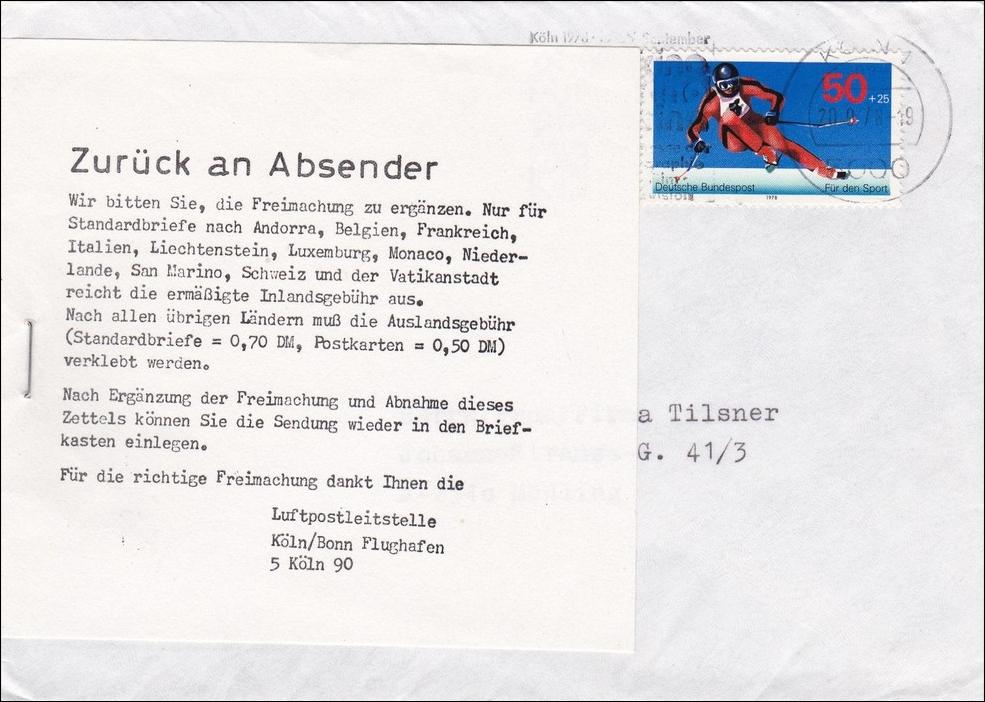 Brief Aus Köln Nach österreich Zurück Falsches Porto 1978 Philarena