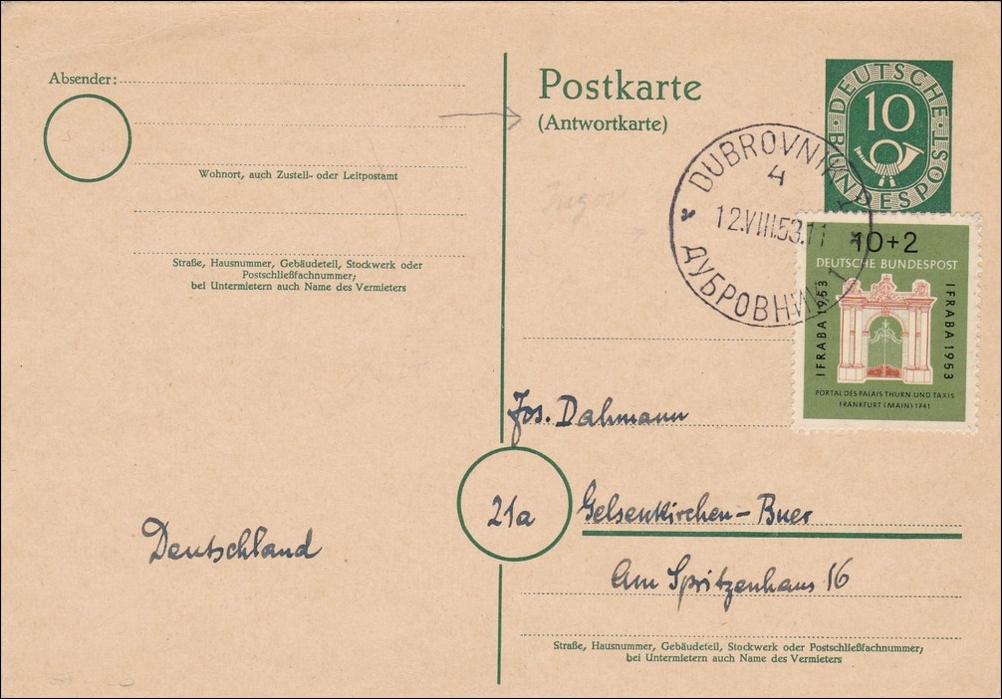 Briefe Nach Russland : Ganzsache antwortkarte aus russland nach gelsenkirchen