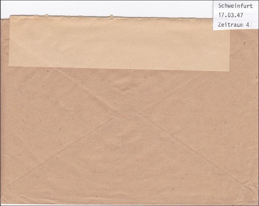 bizone brief oberb rgermeister schweinfurt nach m nchen freistempel 1947 philarena. Black Bedroom Furniture Sets. Home Design Ideas